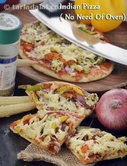 Indian Pizza ( No Need Of Oven) recipe | Tarladalal.com | Member Contributed | #15977
