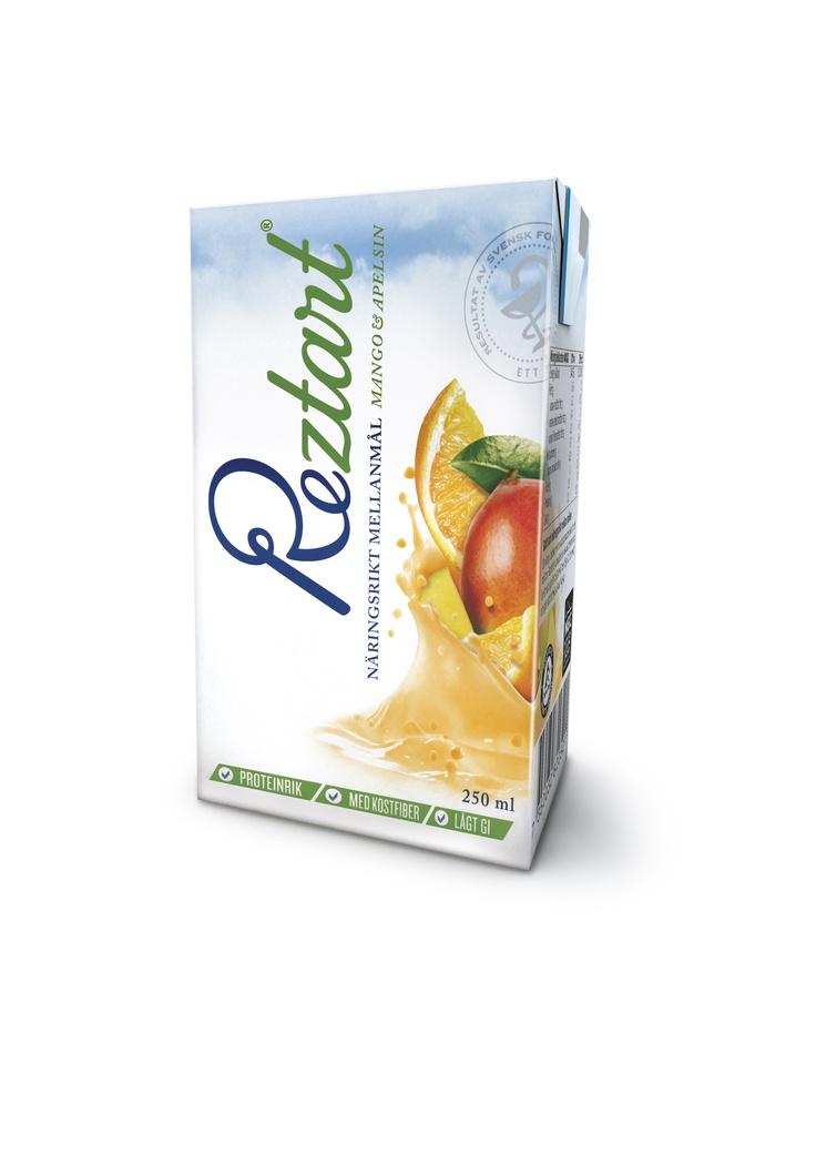 Dryck Mango & Apelsin är ett näringsrikt mellanmål med lågt GI.  Produkterna är ett resultat av 10 års svensk forskning, och är baserad på ett svenskt patent.  Reztart är baserade på naturliga råvaror och innehåller en unik sammansättning av tre proteinkällor, nyttiga fibrer, långsamma kolhydrater & essentiella fettsyror.