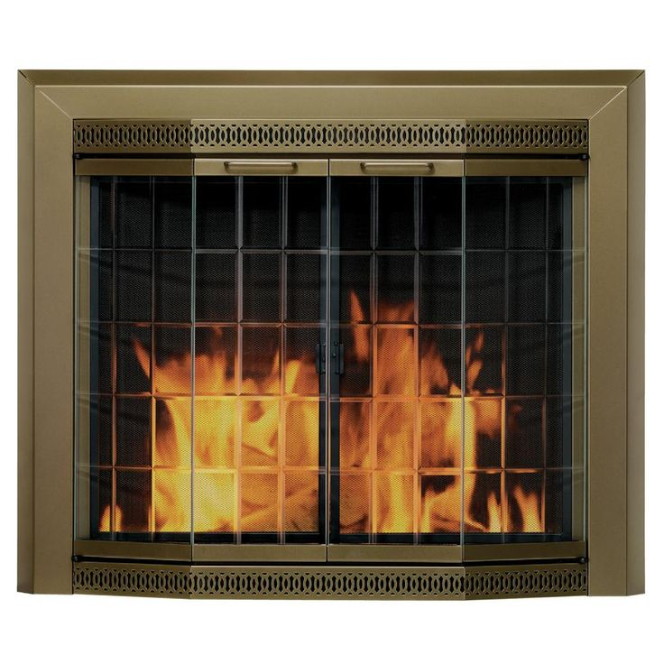 Glass Fireplace Insert Part - 20: Grandior Bay Medium Glass Fireplace Doors