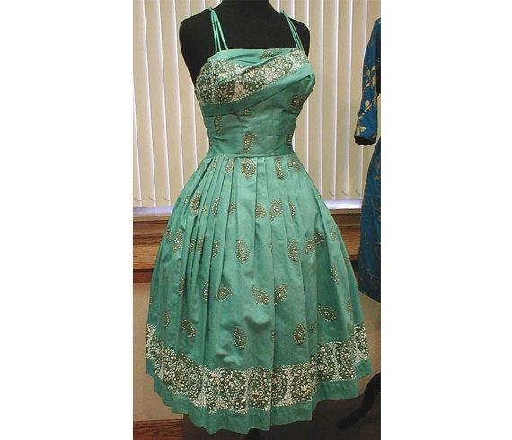 1950s ALFRED SHAHEEN turquoise hawaiian dress. Size M ...