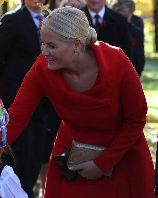 Crown Princess Mette-Marit of Norway greets people in Ottawa, Ontario on November 7, 2016.