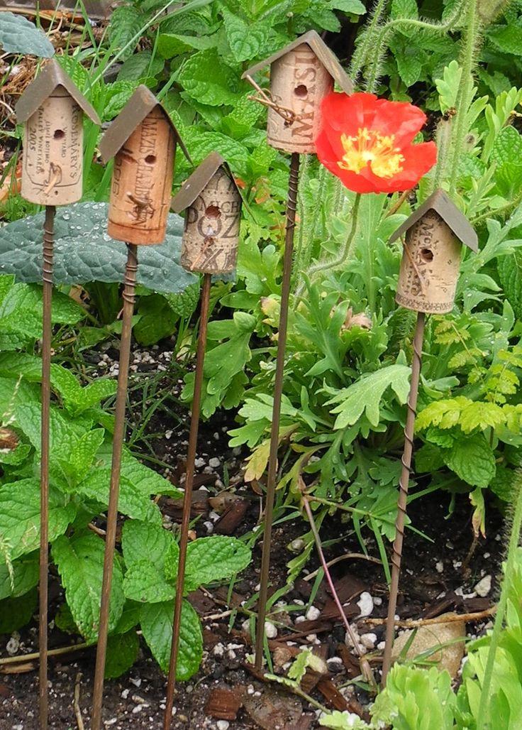 Hand made wine cork birdhouse by Tinasittybittygarden on Etsy