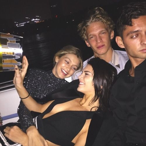Gigi Hadid, Kendall Jenner, Cody Simpson and a friend
