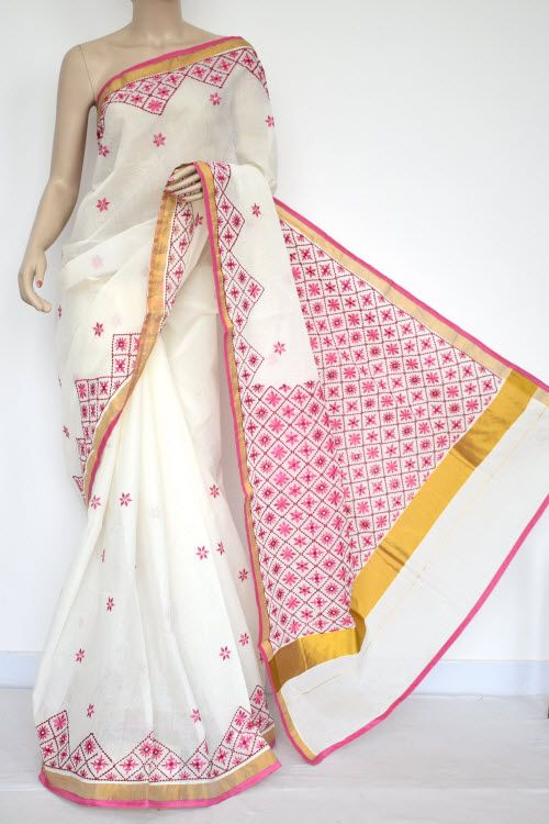 Off-White, Pink Embroidered Kerala Cotton Handloom Saree (With Blouse) 13772