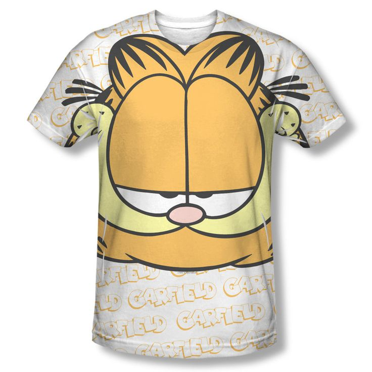 Garfield Face Scheming Grin Name Logo Collage Sublimation Front Only T-shirt Top Mens Sizes: S, M, L, XL, 2XL