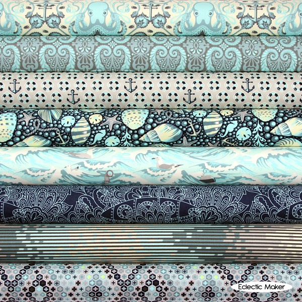 Tula Pink Fabric Pack Salt Water in Aqua Tula Pink Fabric Pack Salt Water in Aqua fat quarter fabric bundle from FreeSpirit of Westminster Fabrics from Eclectic Maker [TP8FQSWAQU] : Eclectic Maker, patchwork, quilting and dressmaking fabric, patterns, habberdashery and notions.