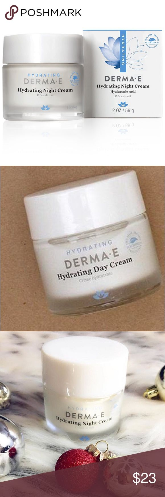 Derma E Hydrating Night Creme w/ Hyaluronic Acid Derma E Hydrating Night Creme With Hyaluronic Acid delivers intense moisture to restore and rejuvenate your skin while you sleep. Hyaluronic acid retains moisture to keep the skin hydrated and also has a plumping effect filling in fine lines and wrinkles for smoother, younger-looking skin. Vitamin A soothes redness and irritation due to dry, itchy skin. derma e Makeup