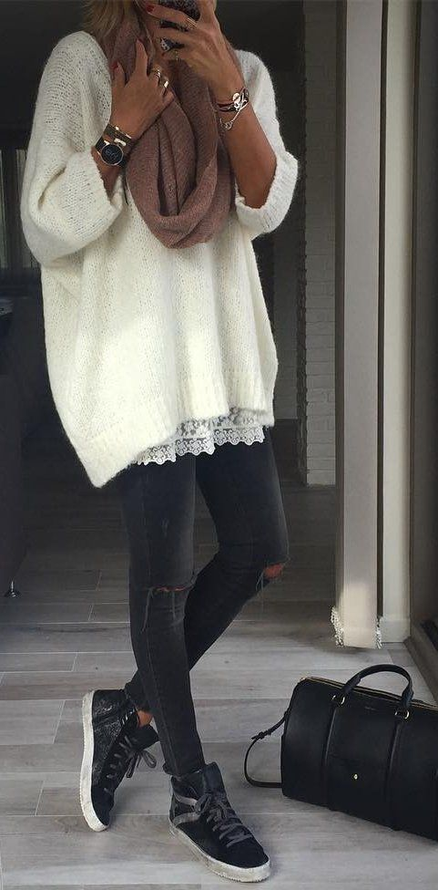 #outfit #ideas · White Sweater // Ripped Skinny Jeans // Black Sneackers