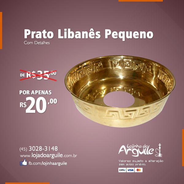 Prato Libanês Pequeno com Detalhes De R$ 35,00 / Por R$ 20,00 Em até 4x de R$ 5,38 ou R$ 19,00 via depósito  Compre Online: http://www.lojadoarguile.com.br/prato-libanes-pequeno-com-detalhes
