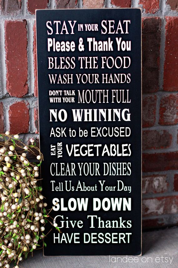Dinner Table Rules Subway Art  wooden sign by LandeeOnEtsy on Etsy, $34.00: Kitchens Rules, Dinners Rules, Subway Art, Vinyls Letters, Families Dinners, Dinners Tables, Vinyl Lettering, Houses Rules, Wooden Signs
