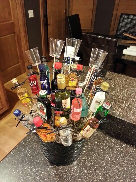 Made 3/6/13 for a 40th birthday. 21 mini liquor bottles, 3 mini wine ...