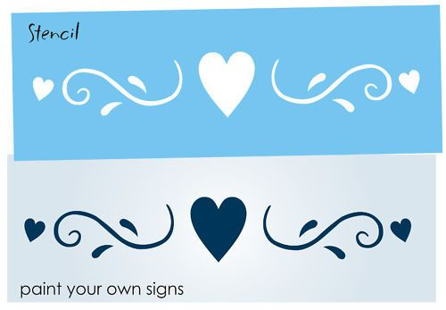 Cottage Chic STENCIL Fancy Swirl Heart Shabby Primitive decor towel Art border #DesignsbyJoanie