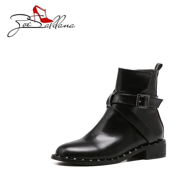 Dames Bottes Hiver Coton Chaussures Martin Bottes Femmes Angleterre En Cuir Talons Hauts Rivets Bottes De Moto Femmes Bottes Plus Cachemire,Black-36