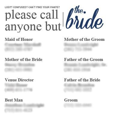 """Downloadable """"Please Call Anyone But the Bride"""" template!! LOVE!"""