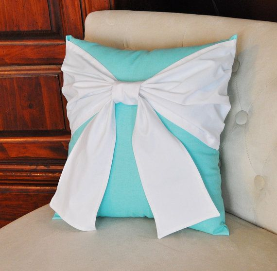 Throw Pillow White Bow on Bright Aqua Pillow 14x14   Want this pillow for the nursery -- or in reverse colors (white pillow with tiffany blue bow)