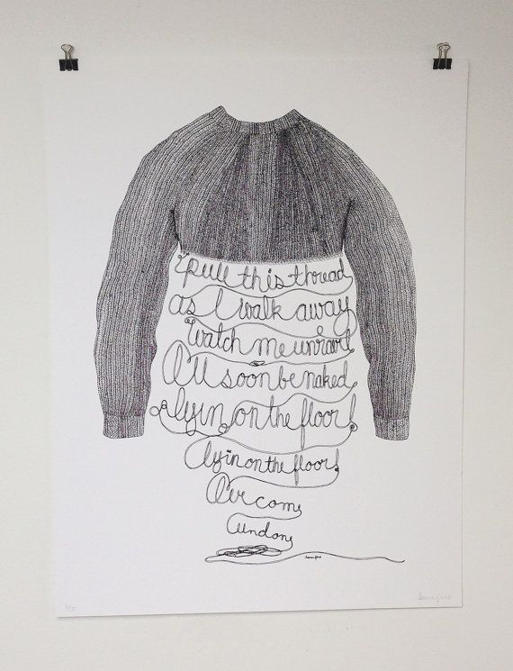 Sweater Song - Illustrated Screen Printed Poster by Lauren Pirie on Etsy, $40.00  tags: weezer, silk screen, illustration