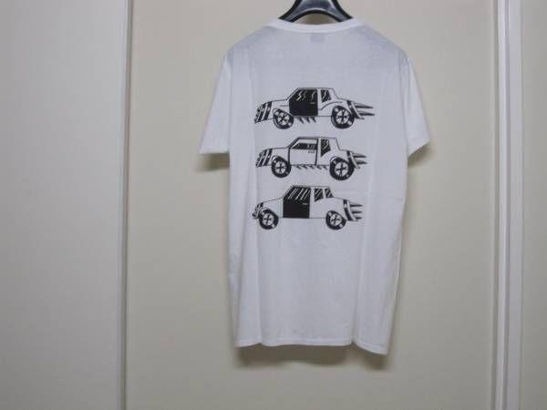 サンローランパリ エディ期 Saint Laurent Paris 2013-14AW SL CAR Tシャツ /S 黒×白 デニム 01レザー_画像1