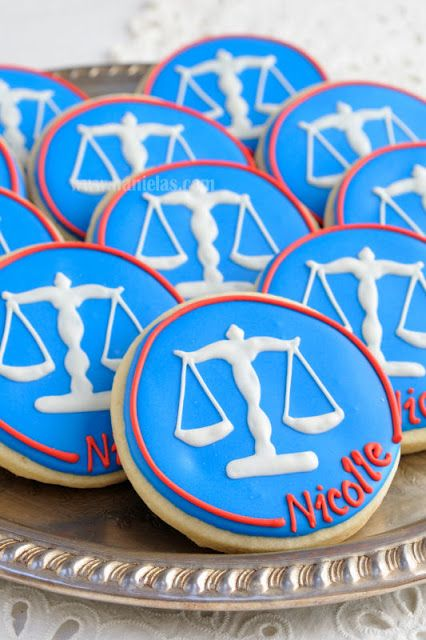 Make your table stand out with....Scales of Justice personalized cookies for P.A.D. recruitment