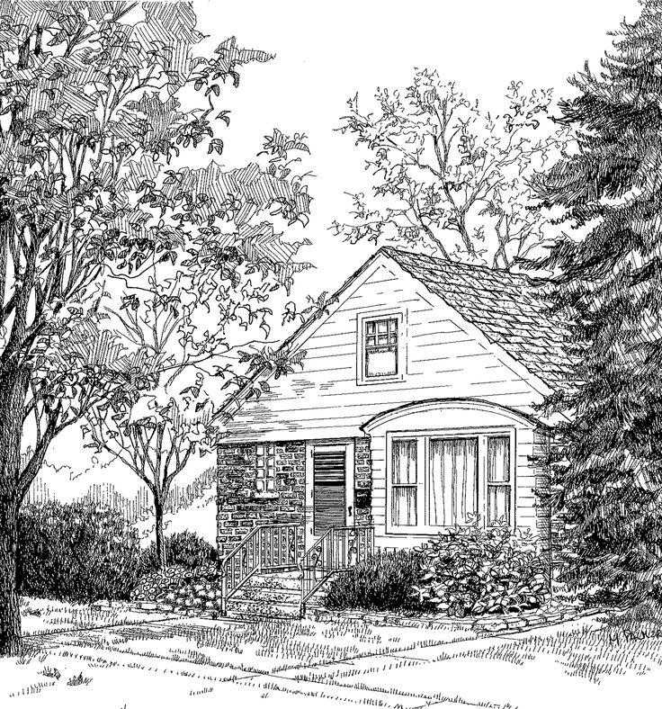 Home Portrait 18 X Pen And Ink On Illustration Board Artwork