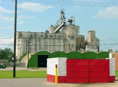Grain elevator in Dayton, Texas...with a lovely close up of the dumpsters from McDonald lol