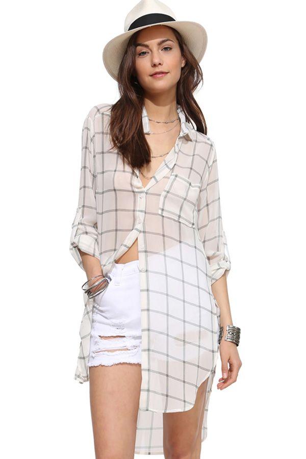 White Plaid Print Side Slit High Low Hem Boyfriend Shirt #White #Shirt #maykool