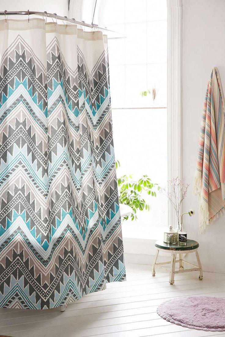 Grayson silver gray jacquard fabric cloth bathroom bath shower curtain - Magical Thinking Keely Chevron Shower Curtain