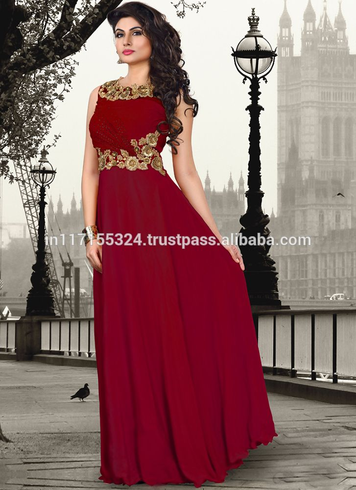 Graceful Maroon Pure Crepe Wedding Gown Is Designed With Resham Zardosi And Antique Hand Work Available Matching Dupatta Slight Variation In Actual