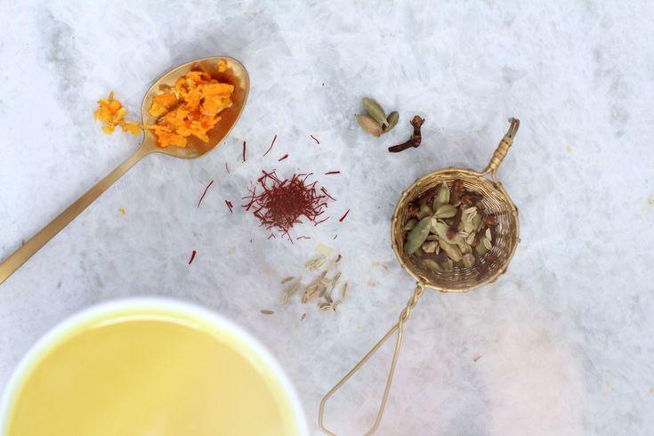Recipe Box: Creamy Saffron Tea Latte   Vidya Living