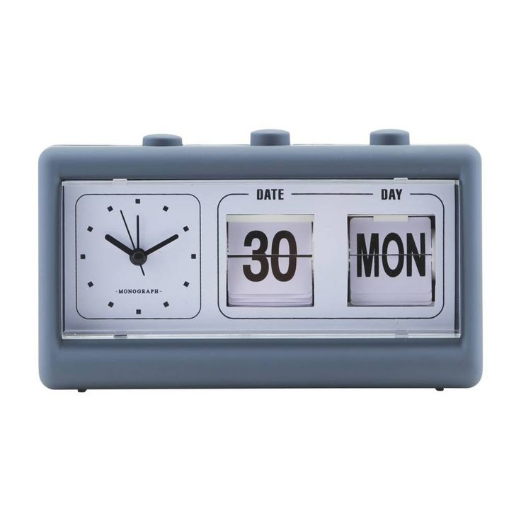 This retro style clock has an alarm and charming retro style flip calendar. A practical and stylish update for a home office or bedroom, this neutral clock makes a great gift for a design aficionado who is difficult to buy for .Also available in pale grey.