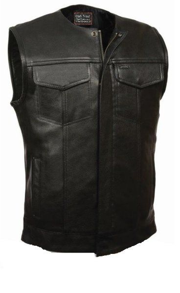 Club Vest Mens No Collar Buffalo Leather Dual Gun Pockets