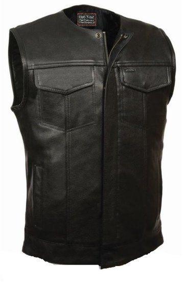 Club Vest Mens No Collar Buffalo Leather Dual Gun Pockets