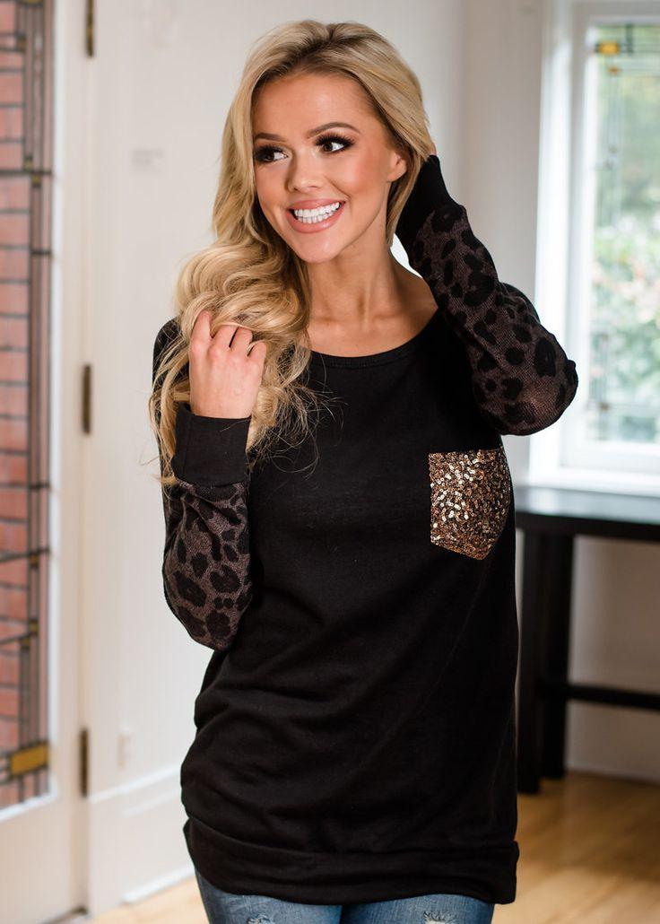 Sequin Pocket Leopard Print Top Black - Modern Vintage Boutique