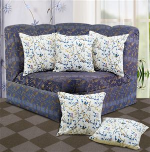 Bird Printed Cream Cushion Cover (Pack of 5) By Dekor World