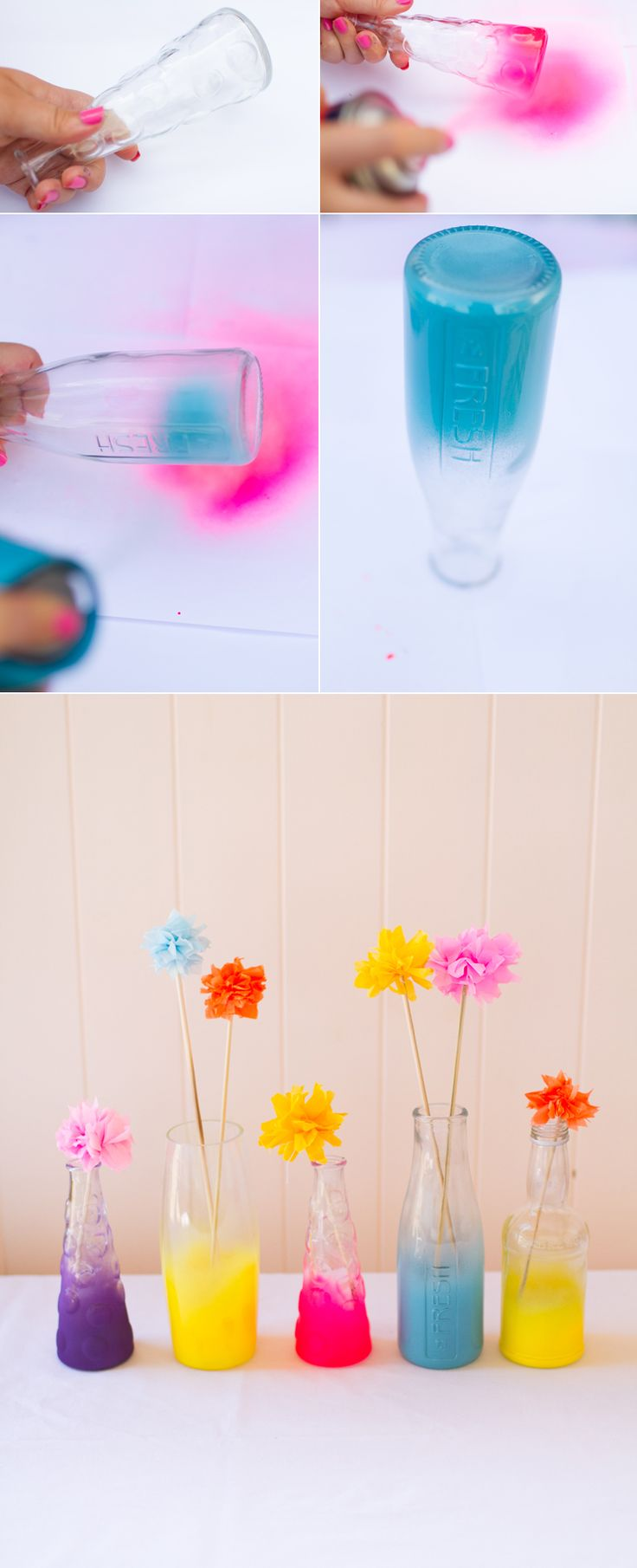 Neon Ombre spray painted bottles DIY Tutorial Bright wedding colors.