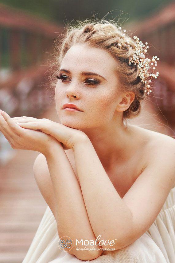 Hochzeitssuite Stirnband, Hochzeit Hair accessory, Bridal Verzierungen, Glasperlen-Überträger, Bridal Kamm, Perlmutt Perlen Stirnband mit gold Zweige, Stil-530
