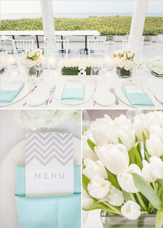 Aqua and Grey Chevron Details fabulous!- maybe add some iris for a pop?  Love This!!! A Lot!!! Iris for my wedding would be perfect since its my grandmothers name and she past away and Chevron detail for my grandfather who had all Chevy trucks. Aqua and Grey are my favorite colors! Perf Smurf!