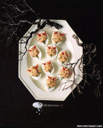 Devilish Eggs Love the black branches against the white plate. Summer treat. #SummerSecretsContest