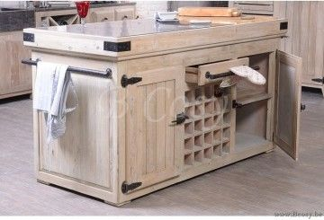 ll-kitchbl02-Kitchen BL2 Landelijke Keukenblok-Keukeneiland met 4 Deuren 2 lades en Wijnkast in Oud Dennehout met arduinen blauwsteen werkblad over ganse lengte 165 Poolhousekeuken-Poolhouse keuken-Buitenkeuken KITCH BL02