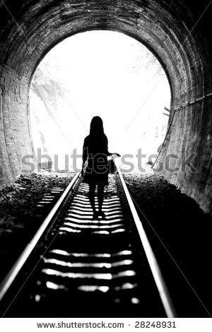 Girl in the railway tunnel
