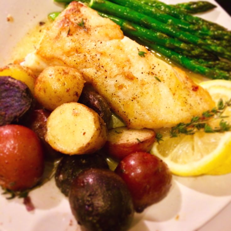 Chef Gordon Ramsey's Pan Seared Halibut with Medley Potatoes and Roasted Asparagus FB|IG : @corascreativecorner