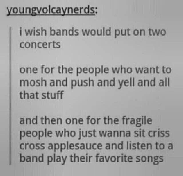I would be in the second group. Though I do enjoy a good mosh.