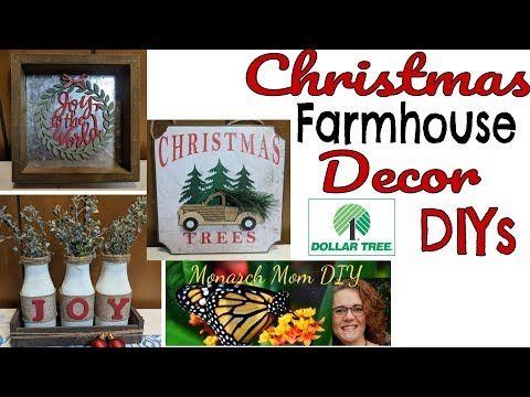 CHRISTMAS FARMHOUSE DOLLAR TREE DECOR DIYS #christ…