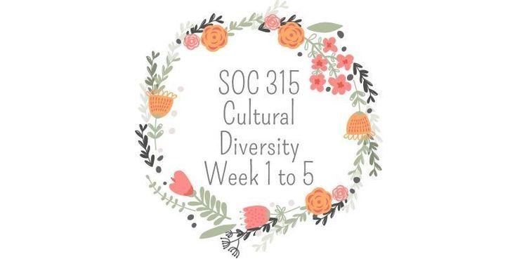 SOC 315 Cultural Diversity=======================SOC 315 Week 1 Individual Assignment - Cultural Background SummarySOC 315 Week 1 DQs  1 and 2---------------------------------------------------------------------------------------------------------SOC 315 Week 2 Individual Assignment - Ethnocentrism