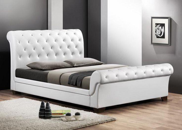 baxton studio leighlin white sleigh bed w upholstered headboard full size - Full Size Sleigh Bed Frame