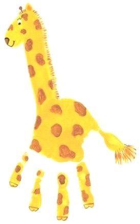 Handprint giraffe- so cute! Easy craft for our jungle unit.