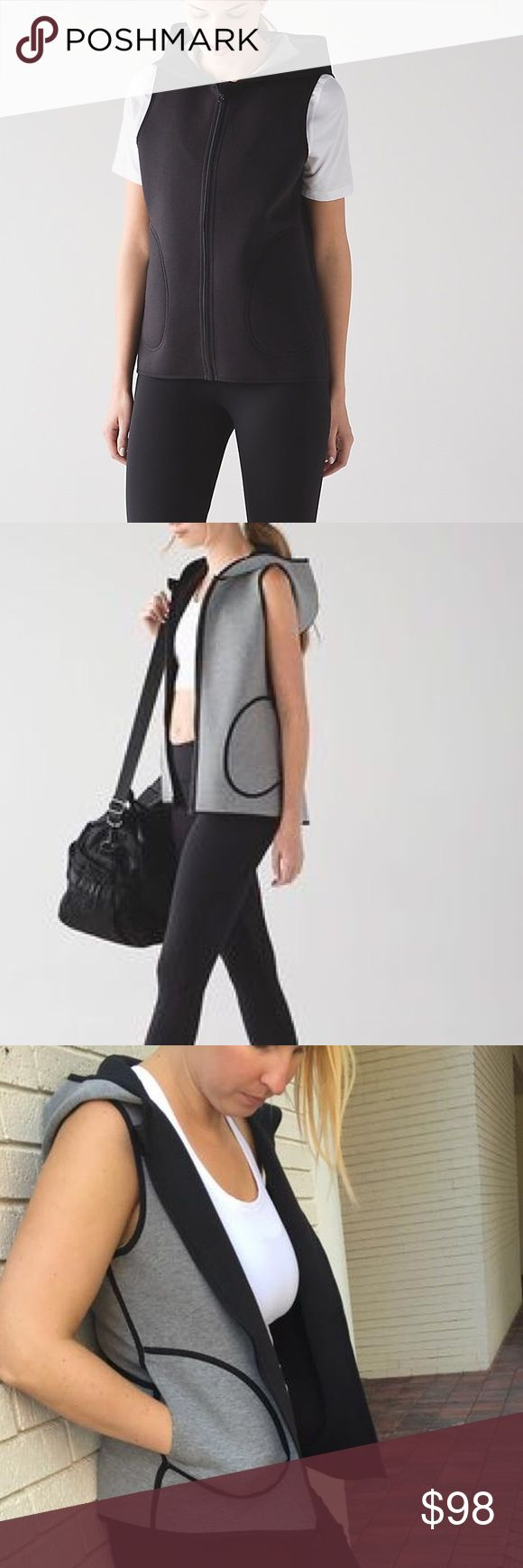 Lululemon Insculpt Vest Reversible Excellent condition. Worn once & washed once on gentle. Hung to dry. Black & grey reversible. Not sold by Lulu anymore. A rare find! Interested in trading for other Lulu items size 2 or 4!! lululemon athletica Jackets & Coats