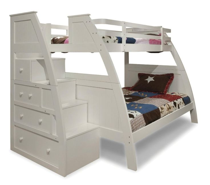 Canwood Overland Bunk Bed With Built In Stairs Drawers Twin Over Full White Size Beds