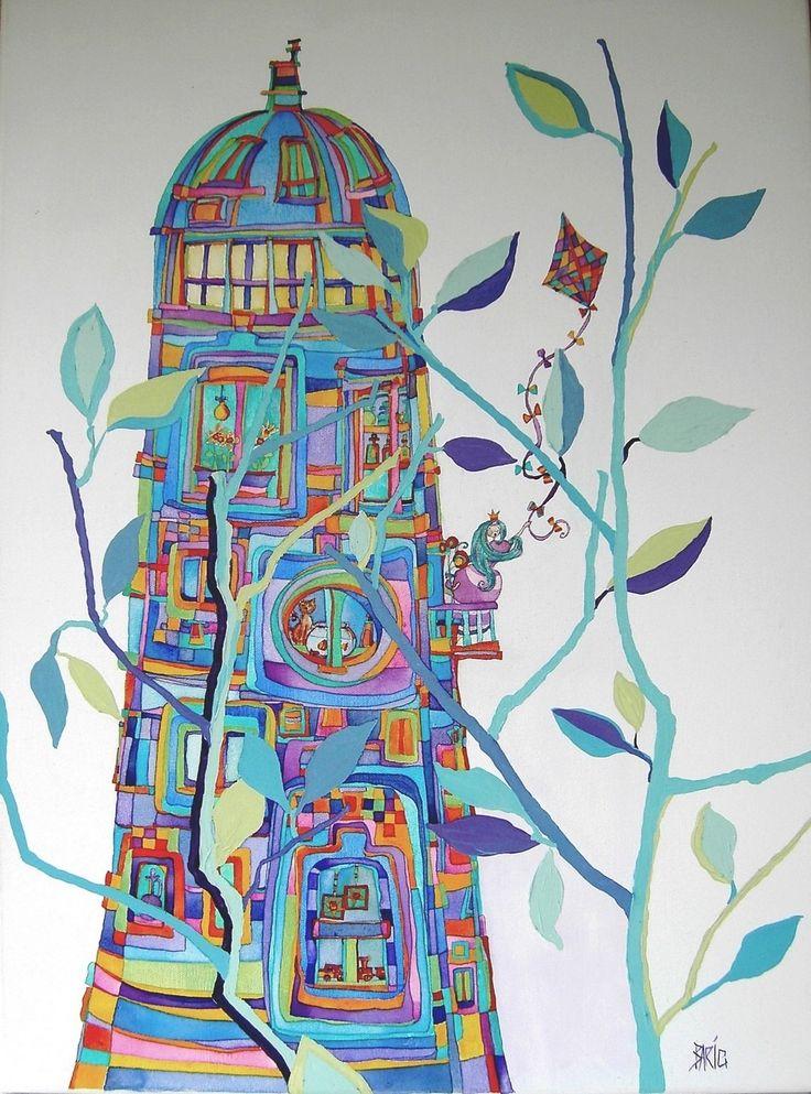 Peinture acrylique -Tableau Contes de fées - Acrylique et aquarelle sur toile 54 x 73 cm : Peintures par fees-et-rires