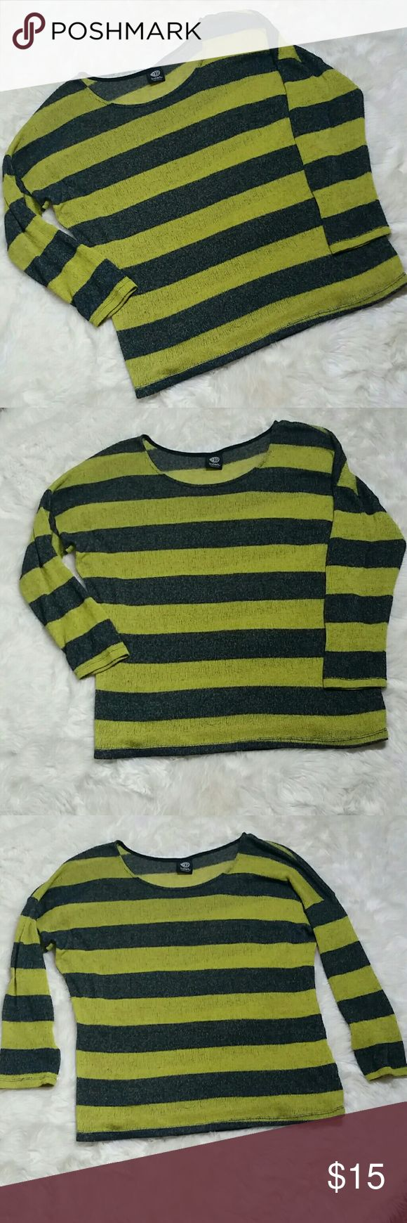 """Bobeau Striped Open Knit Sweater Size XL Bobeau Striped Open Knit Sweater Size XL. Moss with navy thick stripes. Oversized and boxy. Thin open knit. Requires an undershirt for full coverage. 68% polyester, 22% rayon, 5% flax & 5% spandex. Preowned in good condition with no rips, holes, tears or stains.  Pit to Pit 28"""" Top of shoulder to bottom hem 29"""" bobeau Sweaters"""