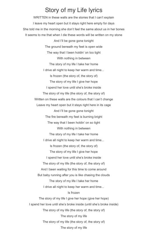 One Direction - Story Of My Life | Music & Lyrics | Pinterest